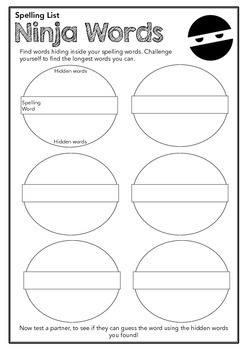 Challenging - Extension Spelling and Vocabulary Activities - for any list