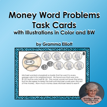 Challenging Money Story Problem Task Cards for Third Graders