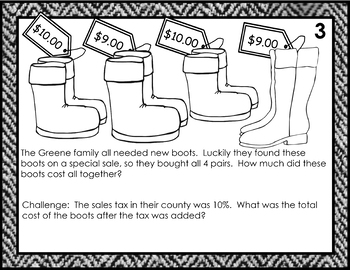 Money Story Problem Task Cards for Third Graders