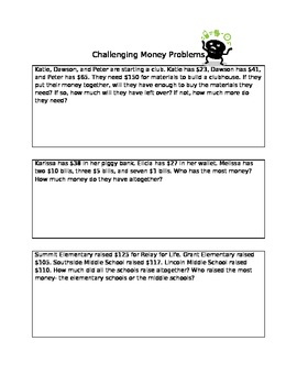 Challenging Money Word Problems