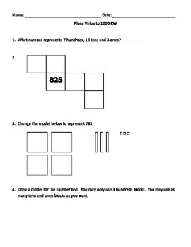Challenging Place Value to 1000 Classwork