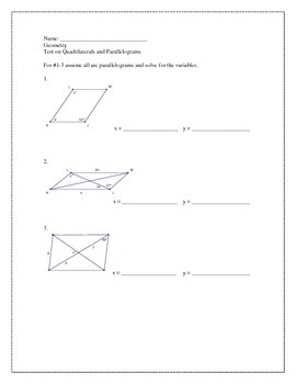 Challenging Quadrilateral/Parallelogram Test w/proofs