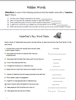 Valentine's Day Word Puzzles, Brain Teasers and Logic