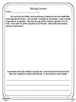 Challenging Word Problems - 7th Grade - Multi-Step - Common Core Aligned