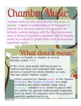 Chamber Music Ensembles History & Skills Handout, Orchestra, Band, Strings