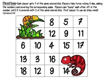 Adding 3 Numbers--Chameleon Bump