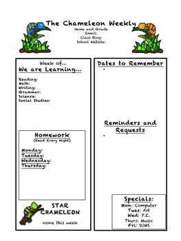 Chameleon Classroom Weekly Newsletter