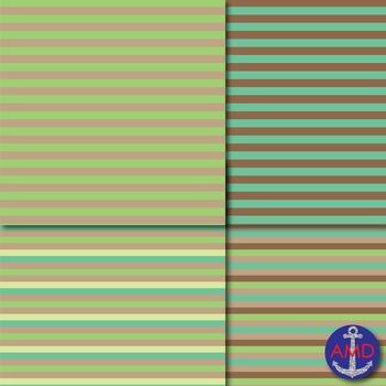 Chameleon Green Chevron, Polka Dot & Striped Paper Pack
