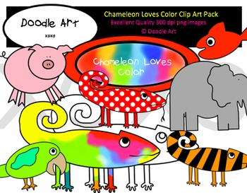 Chameleon Loves Color Clipart Pack