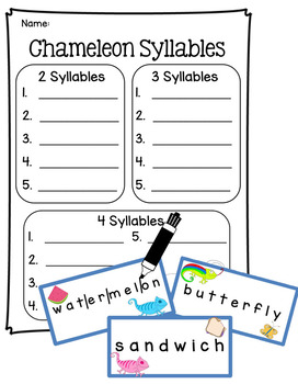Chameleon Syllables Literacy Center