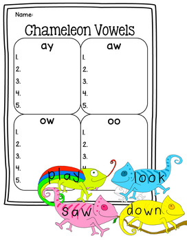 Chameleon Vowel Combination Literacy Center - ay, aw, ow, and oo words