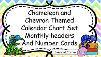 Chameleon and Chevron Themed Calendar Bulletin Board Set