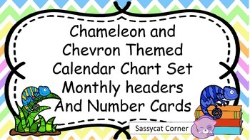 Chameleon and Chevron Themed Calendar Bulletin Board Set