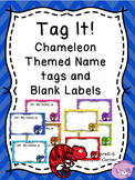 Chameleon and Chevron Themed Editable Name Label Set