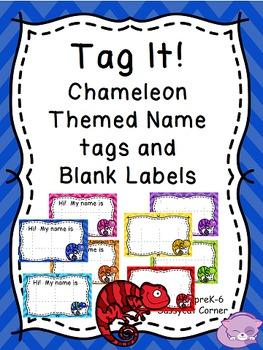 Chameleon and Chevron Themed Editable Name Label Set