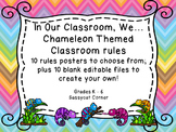 Chameleon and Chevron Themed Rule Posters for Back to School