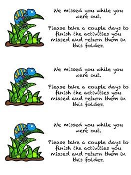 Chameleon themed Absent Folder Message