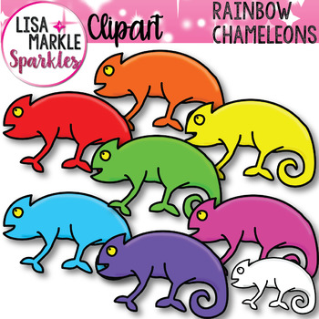 Colorful Chameleons Clip Art