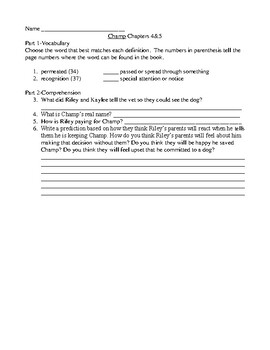 Champ Comprehension and Vocabulary Packet