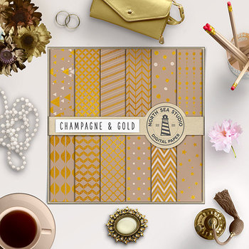 Champagne And Gold Digital Paper, Gold Patterns