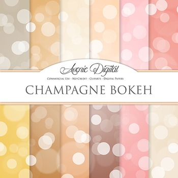 Champagne Bokeh Digital Paper pink sparkle light circles scrapbook backgrounds