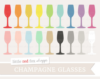 Champagne Glass Clipart; Cocktail, Flute, Wine