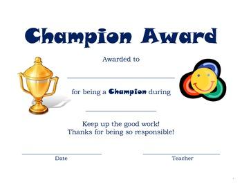Champion Award Certificate
