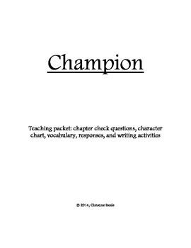 Champion (Legend #3) teaching packet