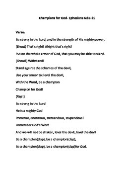 Champions For God Song Sheet