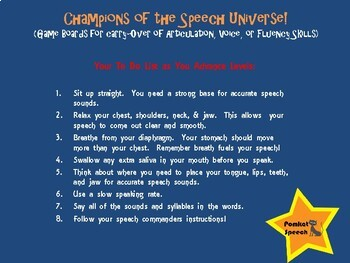 Champions of the Speech Universe  No Print/No Prep Board Games for Carry-Over