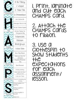 Champs Expectations Chevron Clip Chart- Behavior Management