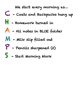Champs Morning Routine