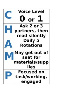 Champs Poster for Daily 5