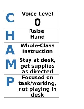 Champs Poster for Whole Group Instruction