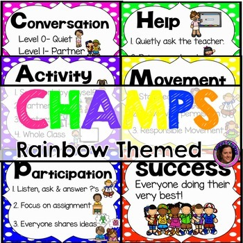 Champs Posters Rainbow Polka Dot Theme