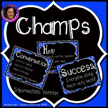 Champs Posters Blue Chalkboard Theme (Intermediate Version)