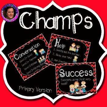 Champs Posters Red & Black Chevron Theme (Primary Version)