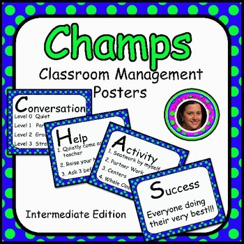 Champs Posters Blue & Green Polka Dot Theme