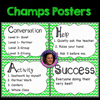 Champs Posters Intermediate Version Lime Green Chevron Theme