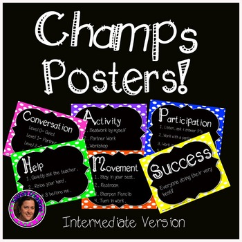 Champs Posters Intermediate Version Rainbow Polka Dot Chalkboard Theme