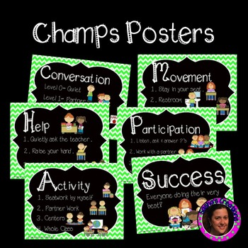 Champs Posters Lime Green Chalkboard Theme