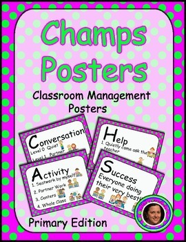 Champs Posters Pink & Green Polka Dot Theme