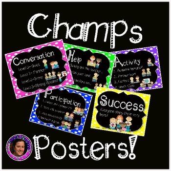 Champs Posters Rainbow Polka Dot Chalkboard Theme