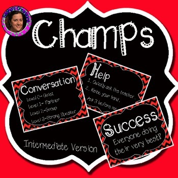 Champs Posters Red & Black Chevron Theme (Intermediate Version)