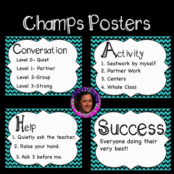 Champs Posters Teal Black Chevron