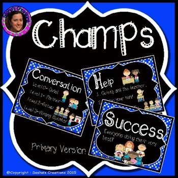 Champs Posters Blue Chalkboard Theme (Primary Version)