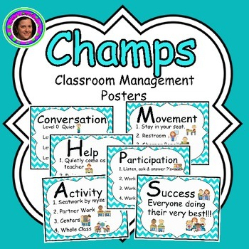 Champs Posters Teal Chevron Theme