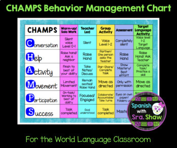 Champs Student Expectation Chart Spanish French German World Language