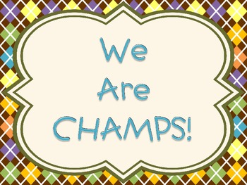 Champs sign chocolate plaid theme
