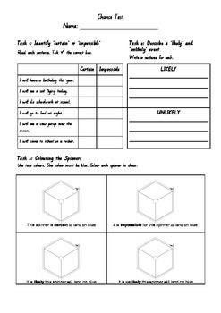 Maths Assessment: Chance (lower primary)